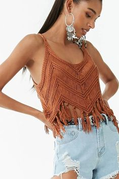Details A crochet-knit top featuring a scoop neckline, sleeveless construction, and a tassel hem. Débardeurs Au Crochet, Crochet Crop Top, Crochet Woman, Crochet Bikini, Crochet Top Outfit, Motif Bikini, Häkelanleitung Baby, Macrame Dress, Diy Clothing