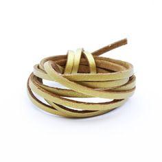 Suédine imitation cuir doré 3mm - cordon suédine au mètre