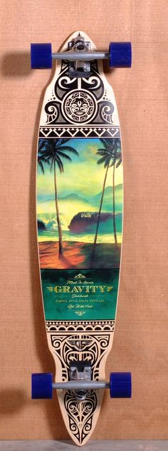 "Gravity 45"" Pintail Longboard Complete - Tres Palmas"