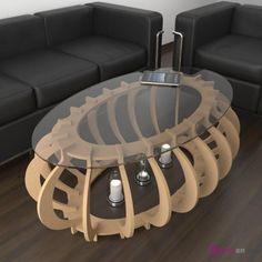 Mesa de centro de madera original y personalizable - Luna