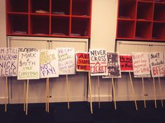 Placards from the 'Fair Pay in HE' strike at Lancaster University. On 31 October 2013 workers in higher education, across the country, went on strike to protest for fairer pay.