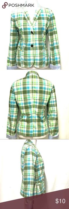 Gap plaid spring blazer Quintessential preppy plaid jacket from the store who coined the term. The plaid is in blue green and a hint of yellow and is lined in light blue. 2 button closure. On the right chest there is a bubble in the fabric...see pic number 6 GAP Jackets & Coats Blazers