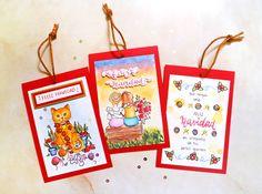 Etiquetas navideñas pintadas con acuarelas