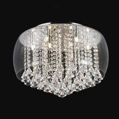 Luminária Plafon Vidro Com Cristal P/ 6 Lâmpadas Itamonte