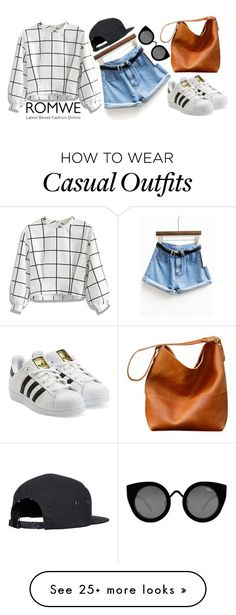 """""""ROMWE: Casual Chic"""" by fellisnowell on Polyvore featuring Chicwish, adidas Originals and Quay"""