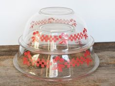 Vintage Pyrex Red Cherries Clear Nesting bowls Set of 2 circa 1980s, Country Kitchen Rockabilly