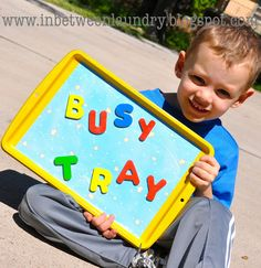 Busy Tray: great tutorial to make this quick & easy play area for kids or for keeping orgainzed
