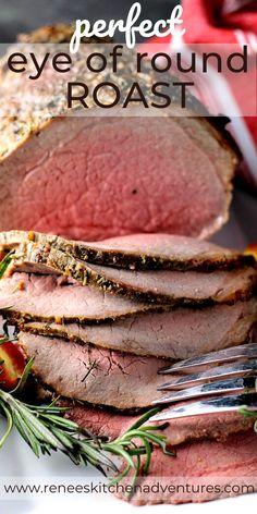 Eye of Round Roast by Renee's Kitchen Adventures is a must make roast beef recipe. Cooked to perfect mid rare and sliced thin this roast is great as a roast beef dinner then use leftovers for sandwiches the next day. Beef Eye Round Roast, Rare Roast Beef, Roast Beef Dinner, Sliced Roast Beef, Cooking Roast Beef, Pork Roast, Eye Round Roast Recipe Slow Cooker, Roast Beef Hash, Recipes