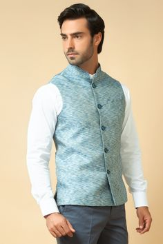Jute Jacket with white chinese collar shirt. Item number M15-110