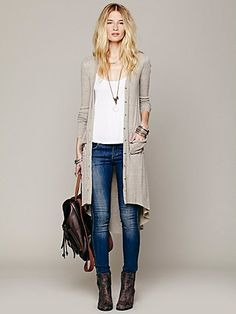 // love, minus the uber-skinny jeans for me// Ribbed Up Maxi Cardigan:long cardigan Maxi Cardigan, Cardigan Outfits, Long Cardigan, Sweater Jacket, Mode Outfits, Fall Outfits, Casual Outfits, Fashion Outfits, Womens Fashion