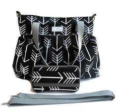 Diaper Bag Gift Set - Black Arrow Diaper Bag - Black Arrow Wipes Case - Messenger Strap