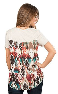 Jody California Women's Oatmeal with Aztec Pocket and Back Short Sleeve Casual Knit Top | Cavender's