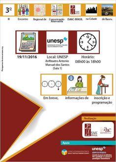 EJEMPLO DE USO - ISAAC BRASIL. Cartel anunciador del III Encuentro Regional de Comunicación Aumentativa organizado por ISAAAC Brasil - Noviembre 2016.