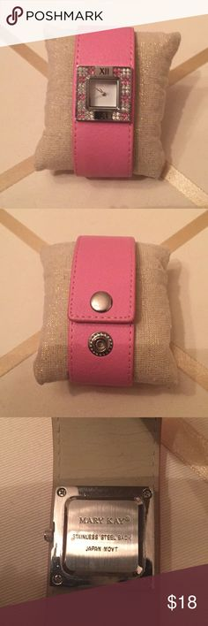 Mary Kay pink watch Beautiful watch with leather like bracelet in pink. Very elegant. Excellent condition. Will sell with working battery. Box not available. Mary Kay Accessories Watches