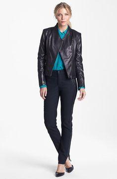 Calvin Klein Leather Jacket, Fever Blouse & NYDJ 'Megan' Denim Leggings  available at #Nordstrom
