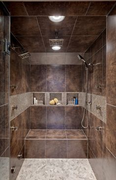 Bathroom, Small Square Wall Niches Mixed With Brown Tile Bench In Classy Walk In Shower Ideas ~ Gorgeous Design of Shower Room allows to Walk in Showers