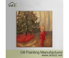 Pintura Mural pintado a mano Arte Moderno Niño de Navidad para Pinturas de la sala de pared