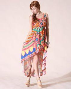 Flying Tomato Bohemian Print High-Low Dress