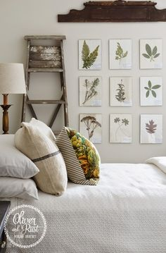 lovely pillows and symmetrical botanical art collection