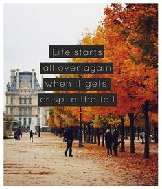 Life starts in the fall..