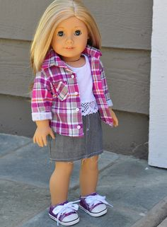 American Girl Clothes - Pink & Purple Plaid Flannel Shirt, White Crop Tank with Crochet Trim, Grey Denim Cut Off Mini Skirt