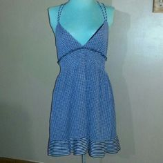 """Free People Dress Blue Green and Greys design dress with striped design around bottom has criss cross straps and elastic around back 34""""long Free People Dresses Midi"""