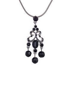 Silver & Jet Crystal Flutterbound Pendant Necklace Made With SWAROVSKI ELEMENTS #zulily #zulilyfinds