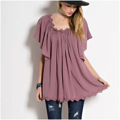 CLEARANCE Mauve. Rayon Easel Tops Tees - Short Sleeve
