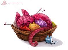 Daily Paint #998. Yarn Cat (OG), Piper Thibodeau on ArtStation at https://www.artstation.com/artwork/daily-paint-998-yarn-cat-og