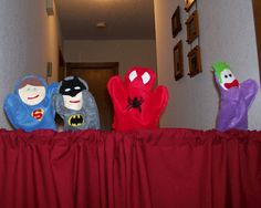 free templates for felt superhero puppets Glove Puppets, Felt Puppets, Homemade Puppets, Homemade Toys, Homemade Gifts, Puppet Crafts, Felt Crafts, Kid Crafts, Sewing Crafts