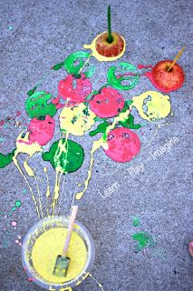 Apple Printing with Erupting Sidewalk Chalk Paint