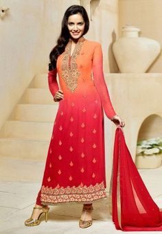Embroidered Straight Cut Georgette Suit in Orange and Red