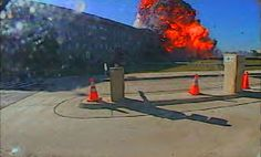This photo from a Pentagon surveillance camera shows the fireball that resulted when the hijacked American Airlines Flight 77, with 58 passe...