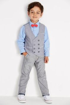 Grey Waistcoat With Blue Shirt And Bow Tie (3mths-6yrs)
