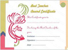 Artist Flower Best Teacher Award Certificate Template