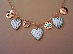 Rustic Enameled Hearts Necklace