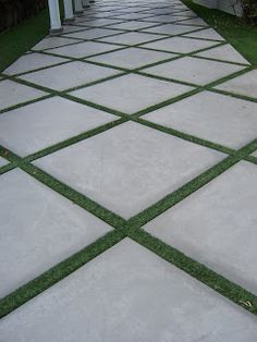 The 2 Minute Gardener: Photo - Concrete Pathway Accented with Field Turf  Use for the pathway down the hill-