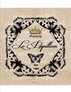 Lend whimsical appeal to your sofa or loveseat with this eye-catching burlap pillow, showcasing a butterfly motif. Shabby, Arabesque, Illustrations, Illustration Art, French Signs, Iron On Fabric, Burlap Pillows, Vintage Paris, Vintage Ephemera