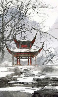From the main building, the pavilion could be seen, dotted with snowfall, and the red lacquered beams and ceilings - that JingMo had painted as an extra aesthetic feature - were vivid in the midst of whiteness Chinese Landscape, Landscape Art, Landscape Paintings, Arte 8 Bits, Japan Painting, Art Asiatique, Art Japonais, Chinese Architecture, China Art