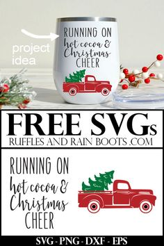 Start Your Christmas Crafting With These Free Cut Files For A Fun Message. Snap To Get Running On Hot Cocoa And Christmas Cheer Paired With This Adorable Free Vintage Truck To Make A Quick Done-For-You Gift Idea Christmas Projects, Holiday Crafts, Spring Crafts, Christmas Crafts To Sell, Free Svg, Merry Christmas, Vintage Christmas, Christmas Vinyl, Homemade Christmas