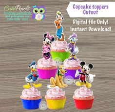 Mickey Mouse Cupcake toppers, Mickey Mouse Clubhouse Toppers, Mickey Mouse Clubhouse Birthday, Mickey Topper, Mickey Mouse Birthday Decor by CutePixels on Etsy