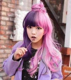 i kinda had this look at one point. except the pink was on the bottom layers and the violet was on top. saddest part: both colors were from the same dye.