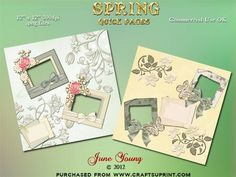 """Spring on Craftsuprint designed by June Young - A set of two quick pages looking forward to Spring. They are in shades of pale yellow and green and feature frames, bows, butterflies and embossed flowers. These pages are 12"""" x 12"""" at a resolution of 300dpi and are .png files with transparent backgrounds ready for you to just slip in your photographs or artwork. Each page also has a journalling tag just waiting for you to write in your thoughts. Commercial use or scrap for hire is allowed…"""