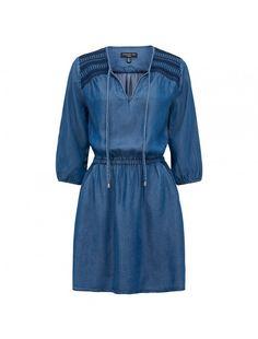 Paris Embroidered Dress Dark Wash - Womens Fashion | Forever New