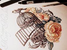 ideas for black bird cage birdcages Coeur Tattoo, Et Tattoo, Tattoo Bird, Bird Cage Tattoos, Sketch Tattoo, Tattoos Mandala, Flower Tattoos, Bird And Flower Tattoo, Flower Bird
