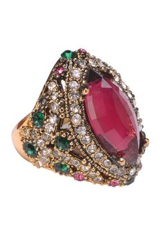 Pink Panache Ring Rs. 950/- http://www1.juvalia.in/what-s-new/the-big-fat-wedding/pink-panache-ring.html #red #ring #bridal #weddingjewellery