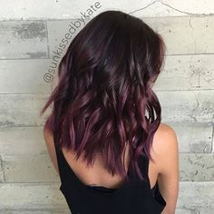 Hair Color Trends 2018 2018 Highlights : Plum Balayage sunkissedbykate Visit us at DisconnectedHair for more great ideas. Hair Color And Cut, New Hair Colors, Cherry Cola Hair Color, Cherry Hair Colors, Violet Hair Colors, Plum Color, Color Shades, Ombré Hair, Hair Day