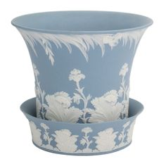 1stdibs | Wedgwood Blue And White Jasper Flower Pot and Underplate