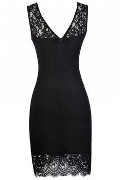 Black Lace Trim Dress, Little Black Dress, Black Party Dress, Black Cocktail Dress, Black Lace Trim Dress, Black Crossover Hemline Dress, Black Party Dress