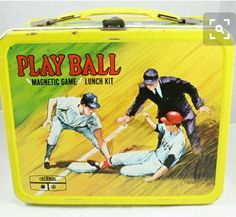 Vintage 1969 Metal Play Ball Lunch Box with Original Game Pieces King-Seeley Lunch Box Thermos, Vintage Lunch Boxes, Cool Lunch Boxes, Metal Lunch Box, School Lunch Box, Game Pieces, Good Ole, Retro Toys, Classic Toys